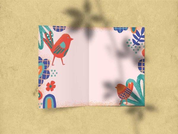 Открытка поздравительная - «Поздравляем» (птицы)