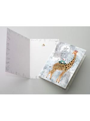 Поздравительная открытки «С днем рождения!» Жирафик