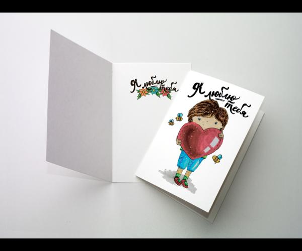 Поздравительная открытка мужчине на дизайнерской бумаге soft touch