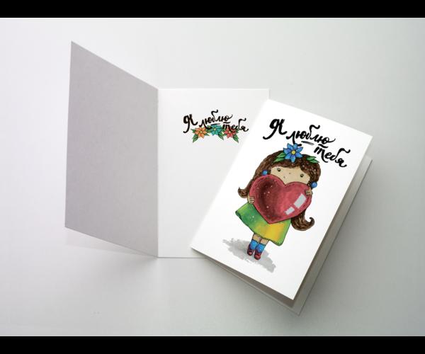 Поздравительная открытка для девочки на дизайнерской бумаге soft touch