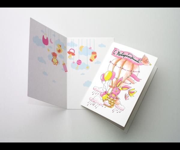 Поздравительная открытка «С новорожденным (девочка)» на дизайнерской бумаге soft touch