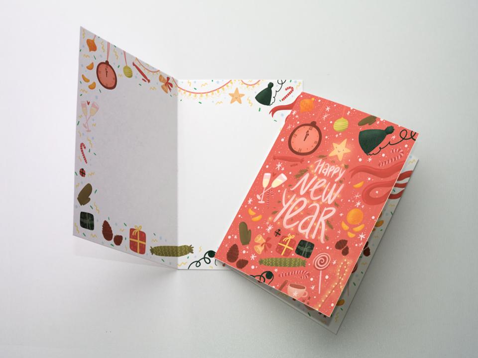 Открытка поздравительная - новогодняя «Happy new year» на дизайнерской бумаге soft touch