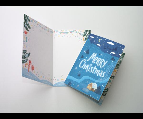 Открытка поздравительная - новогодняя «Merry christmas» на дизайнерской бумаге soft touch