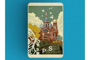 Магнит на холодильник «храм Спас на Крови», Петербург, ретро