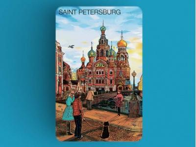 Магнит на холодильник «храм Спас на Крови», романтический Петербург