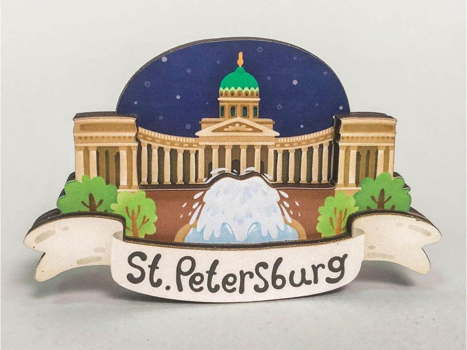 Сувенирный магнит на холодильник из дерева с 3D эффектом «Казанский собор». Санкт-Петербург