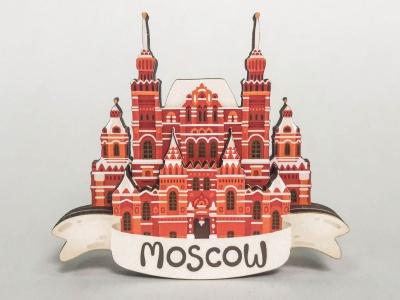 Сувенирный магнит на холодильник из дерева с 3D эффектом «Исторический музей». Москва