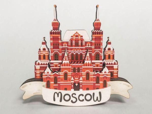 Магнит на холодильник 3D из дерева «Исторический музей». Москва, объемный