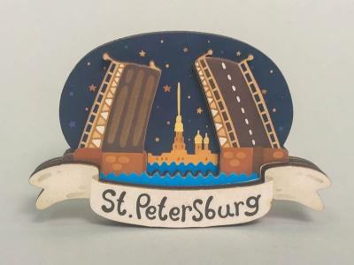 Магнит на холодильник 3D из дерева «Дворцовый мост, вид на Петропавловскую крепость». Санкт-Петербург