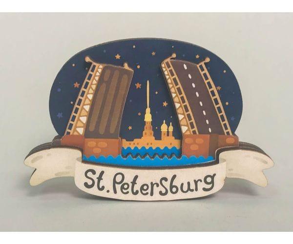 Сувенирный магнит на холодильник из дерева с 3D эффектом «Дворцовый мост, вид на Петропавловскую крепость». Санкт-Петербург