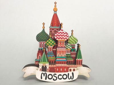 Магнит на холодильник 3D из дерева «Собор Василия Блаженного». Москва