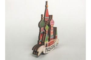 Магнит на холодильник 3D из дерева «Собор Василия Блаженного». Москва, объемный