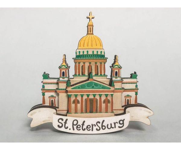 Сувенирный магнит на холодильник из дерева с 3D эффектом «Исаакиевский собор». Санкт-Петербург