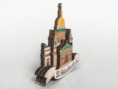 Магнит на холодильник 3D из дерева «Исаакиевский собор». Санкт-Петербург