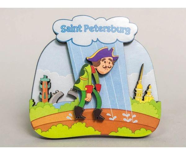 Сувенирный магнит на холодильник из дерева с 3D эффектом «Петр I. Идет под дождем»