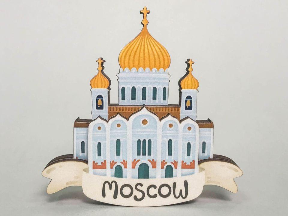 Сувенирный магнит на холодильник из дерева с 3D эффектом «Храм Христа Спасителя». Москва