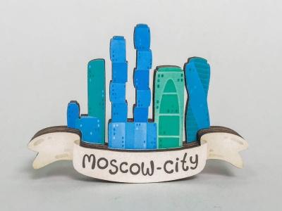Магнит на холодильник 3D из дерева «Москва сити»