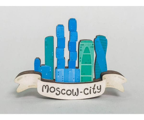 Сувенирный магнит на холодильник из дерева с 3D эффектом «Москва сити»