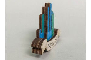 Магнит на холодильник 3D из дерева «Москва сити», объемный