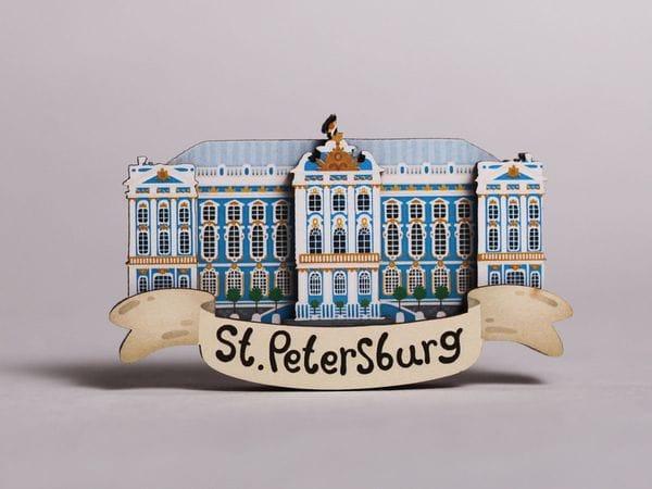 Магнит на холодильник 3D из дерева «Царское село», Петербург, объемный