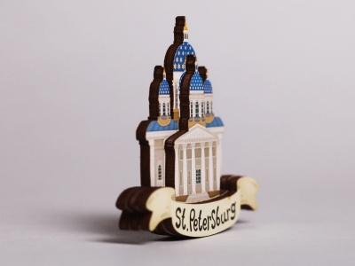 Магнит на холодильник 3D из дерева «Троицкий собор»