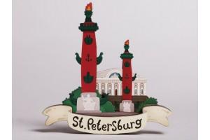 Магнит на холодильник 3D из дерева «Ростральные колонны», Петербург, объемный
