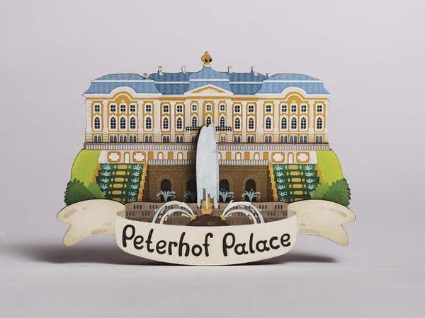 Магнит на холодильник 3D из дерева «Петергоф. Фонтаны», Петербург, объемный