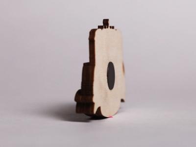 Сувенирный магнит на холодильник из дерева с 3D эффектом «Петергоф Фонтаны»