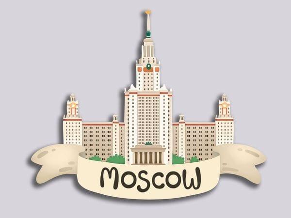 Магнит на холодильник 3D из дерева «Москва. МГУ», объемный