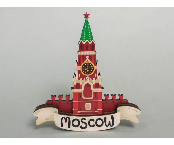 Сувенирный магнит на холодильник из дерева с 3D эффектом «Кремлевская башня». Москва