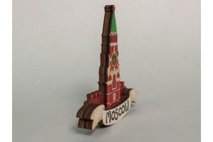 Магнит на холодильник 3D из дерева «Кремлевская башня». Москва, объемный
