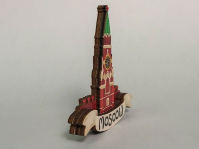 Магнит на холодильник 3D из дерева «Кремлевская башня». Москва