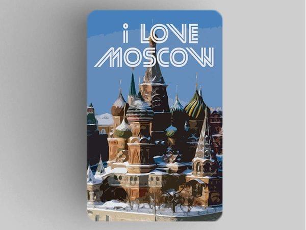 Магнит на холодильник  I love Moscow «Храм Василия Блаженного зимой»