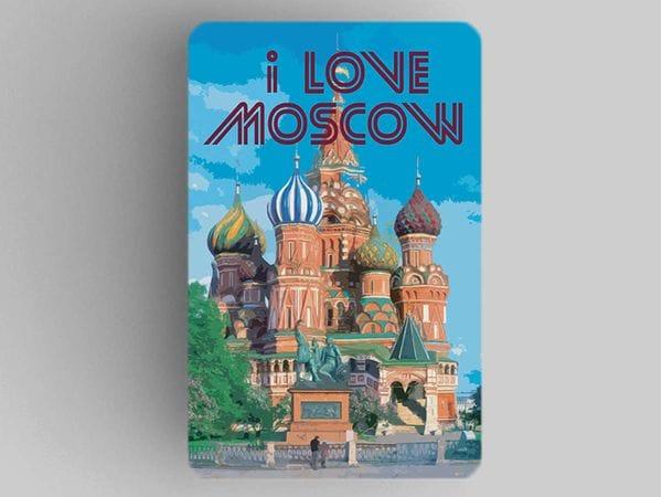 Магнит на холодильник  I love Moscow «Храм Василия Блаженного летом»