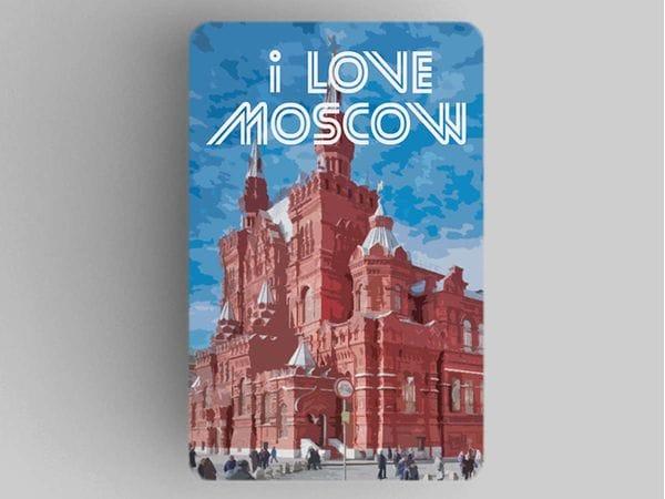Магнит на холодильник  I love Moscow «Исторический музей»