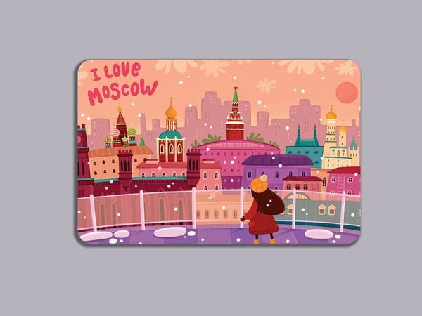 Магнит на холодильник «I love Moscow» - панорама с крыши Детского мира