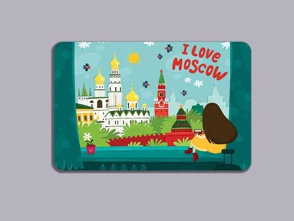 Магнит на холодильник «I love Moscow»