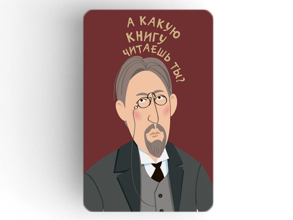 Сувенирный виниловый магнит на холодильник с плотным картоном и иллюстрацией Чехова А.