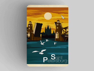 Магнит на холодильник из плотного картона «Смольный собор мост» из серии Ретро постер