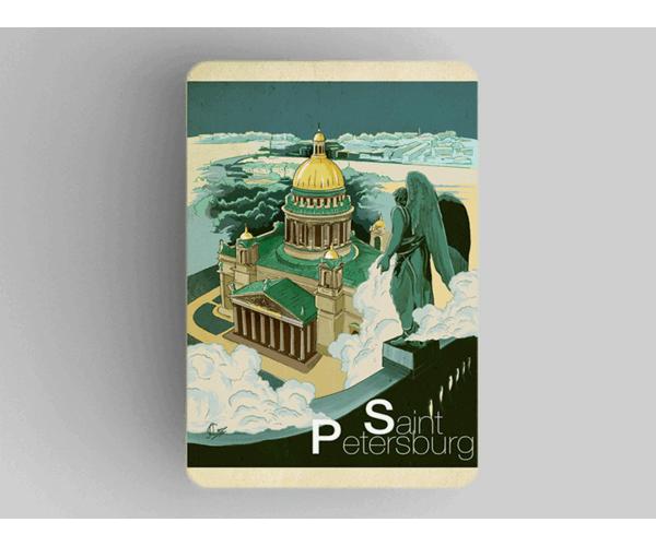Магнит на холодильник из плотного картона «Исаакиевский собор» из серии Ретро постер