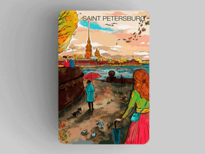 Магнит на холодильник из плотного картона «Петропавловская крепость»  из серии Романтический Петербург