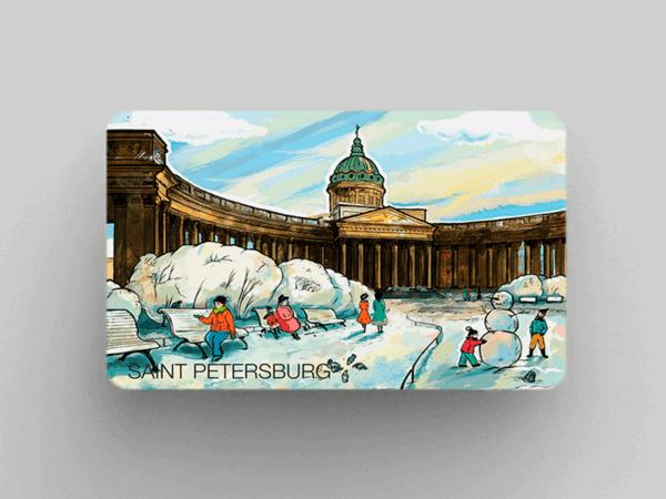Магнит на холодильник «Казанский собор», романтический Петербург
