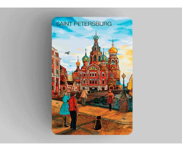 Магнит на холодильник из плотного картона «храм Спас на Крови» из серии Романтический Петербург