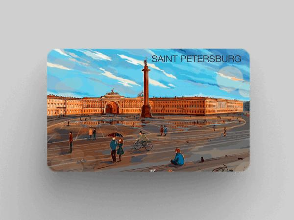 Магнит на холодильник «Александрийская колонна эрмитаж дворцовая площадь»