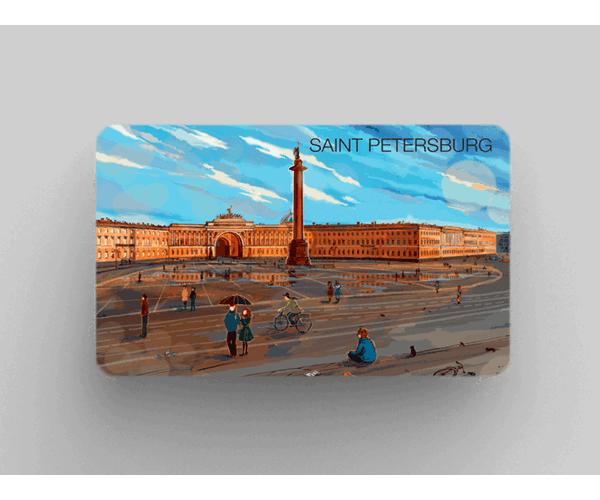 Магнит на холодильник из плотного картона «Александрийская колонна эрмитаж дворцовая площадь» из серии Романтический Петербург