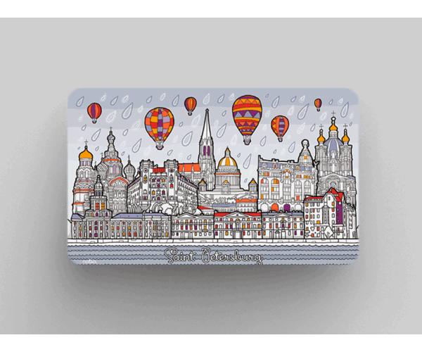 Магнит на холодильник из плотного картона «Панорама Санкт-Петербурга» из серии Весь Петербург