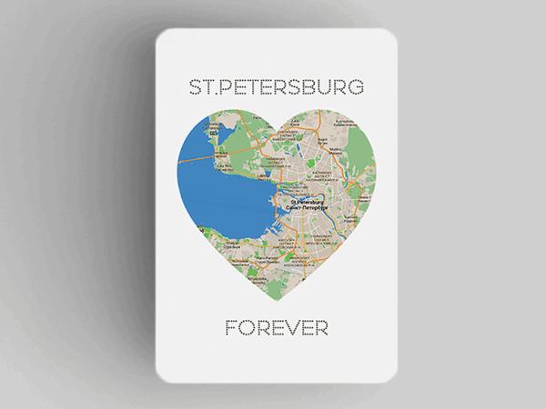 Магнит на холодильник «Петербург в сердце St Petersburg Forever»