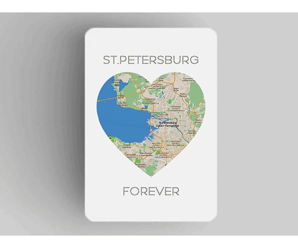 Магнит на холодильник из плотного картона «Петербург в сердце St Petersburg Forever»