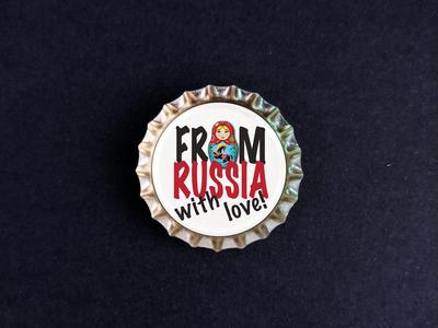 Пробка с магнитом «From Russia with love» с матрешкой
