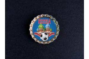Пробка магнит сувенирная «Russia», храм, мяч, синий фон